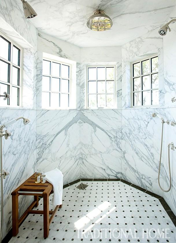 Master Bath Octagonal Shower with Calacatta Gold Marble Walls, Custom Mosaic Tile Floor
