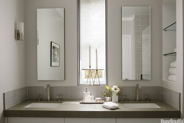 Transitional Style Bathroom with Open Shelves, Double Undermounted Sinks, Jean Laretts