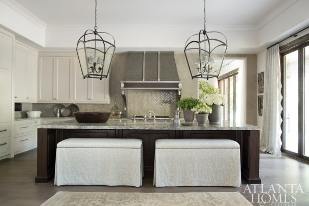 Kitchen with Hand-glazed Terra-cotta Tiles, Lauren DeLoach Interiors