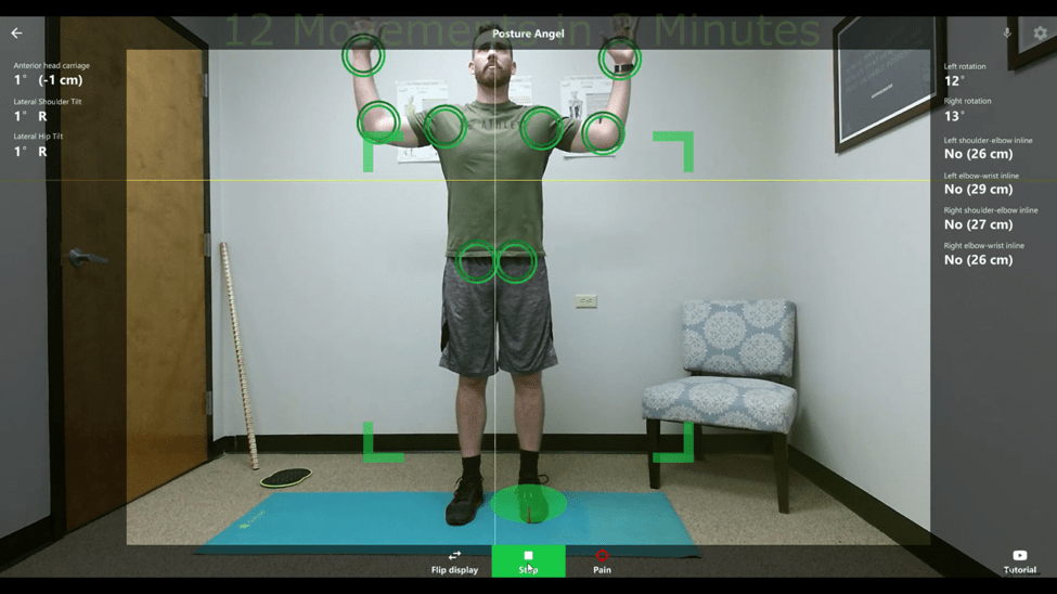movement assessment posture angel measuring range of motion in the shoulder