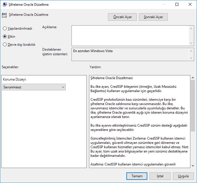 CredSSP Şifreleme Oracle Hatasının Çözümü