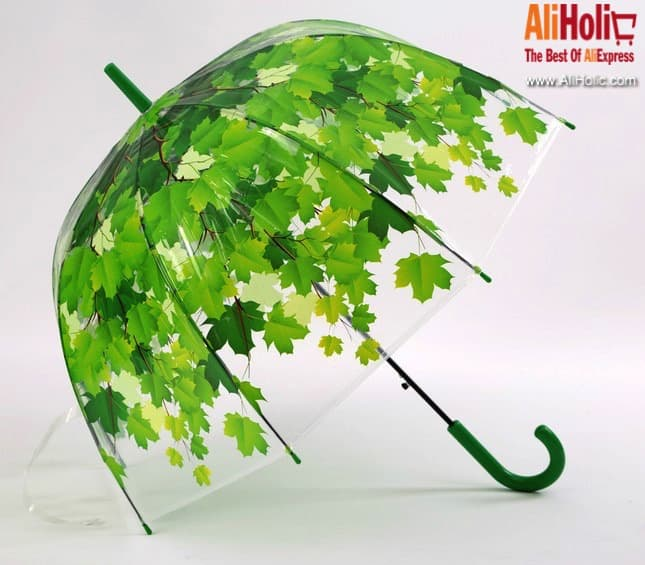 Transparent umbrella leaves AliExpress