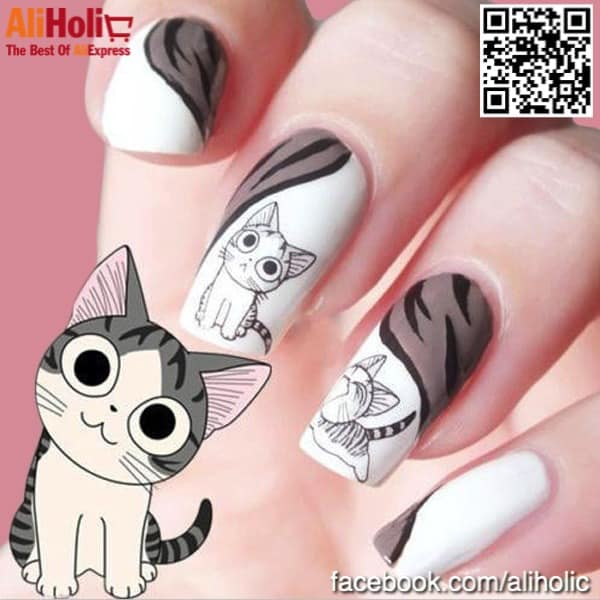 Kitty nail stickers