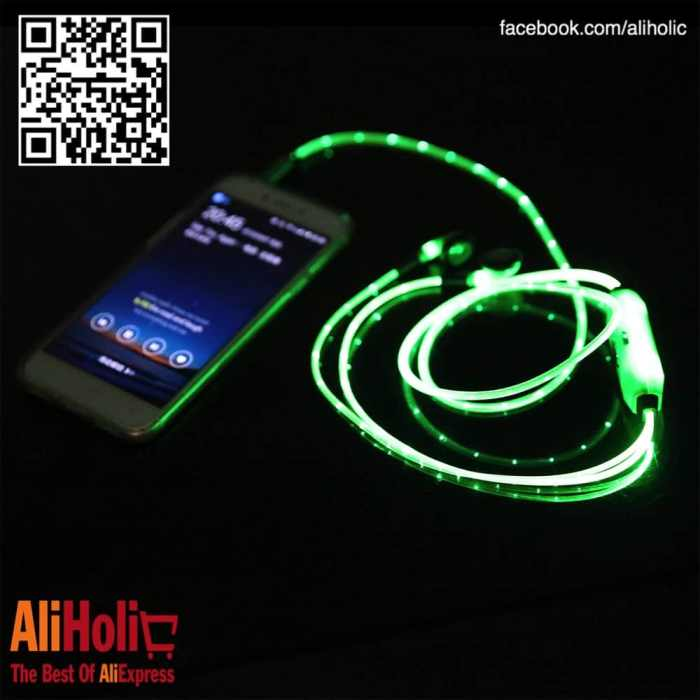 LED earphones green