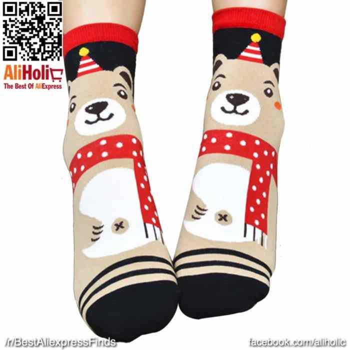 Christmas socks beige