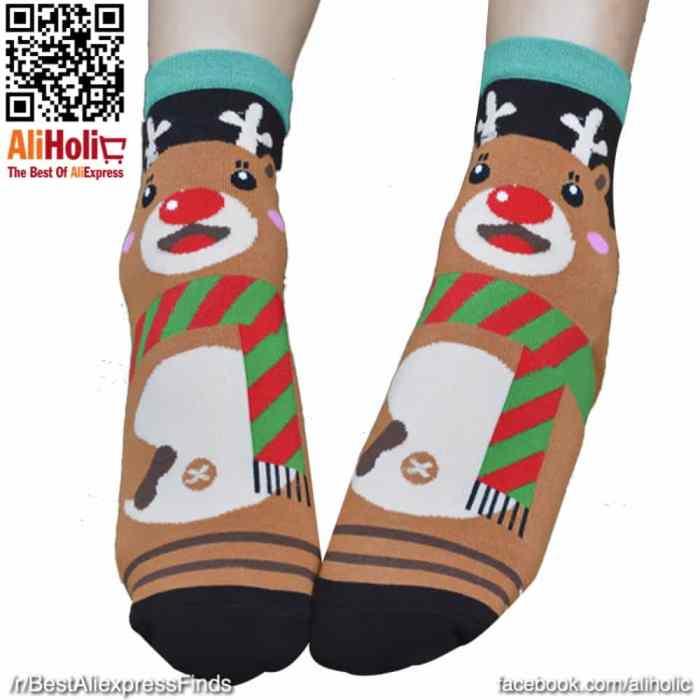 Christmas socks brown