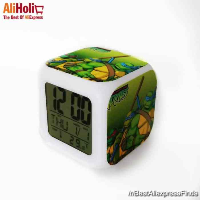 Teenage Mutant Ninja Turtles Alarm Clock Calendar Thermometer Backlight