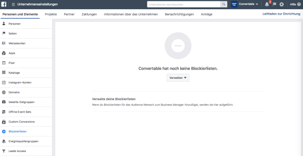 Facebook Business Manager Uebersicht Screenshot