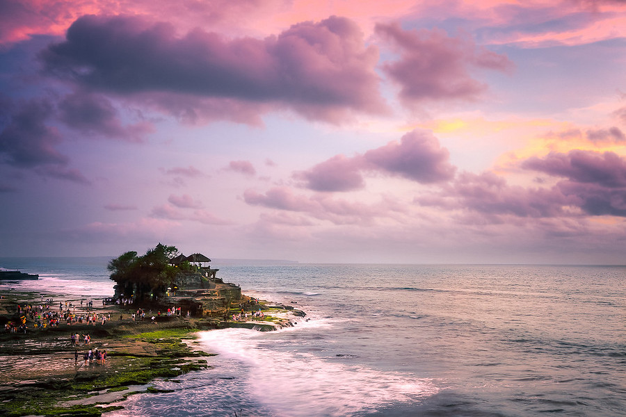 Tanah Lot Temple of BaliThis is a shot of the famous Tanah Lot Temple in Bali. This whole area was probably one of the coolest areas I went to in bali. Lots of great spots to photo and very pretty landscapes.
