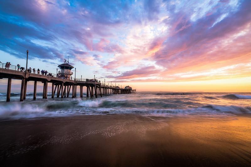 Summer waves at the Huntington Beach Pier.