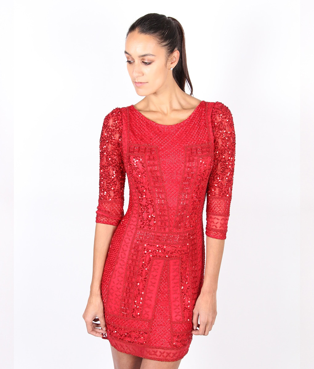 Scala Long Sleeved Red Sequin Dress  Alila