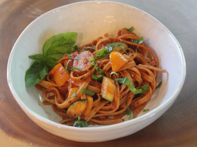 Sausage & Zucchini Linguini