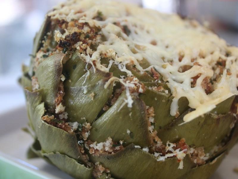 Italian Stuffed Artichoke with a Garlic Cayenne Dip