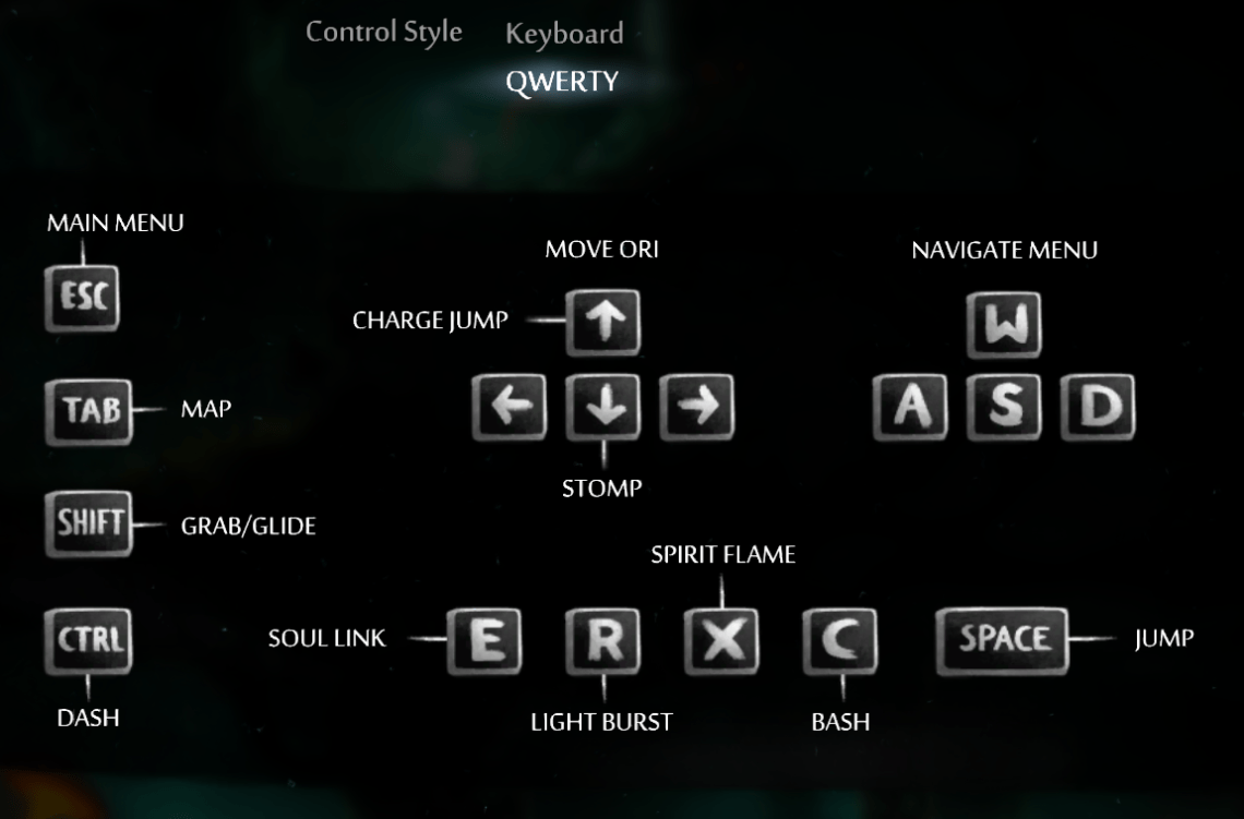 ori and the blind forest keyboard controls