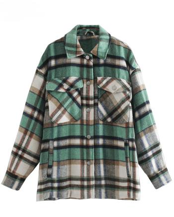 Плотная куртка-рубашка в клетку