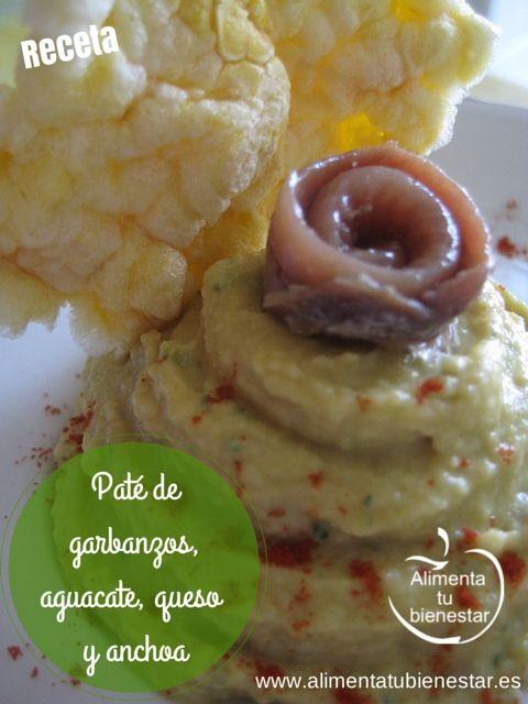 Receta Paté de garbanzos con aguacate, queso y anchoa