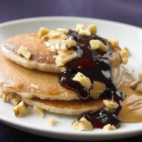 Pancake de mantequilla de mani y arandano