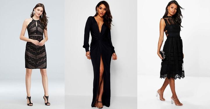Yırtmaçlı siyah abiye elbise