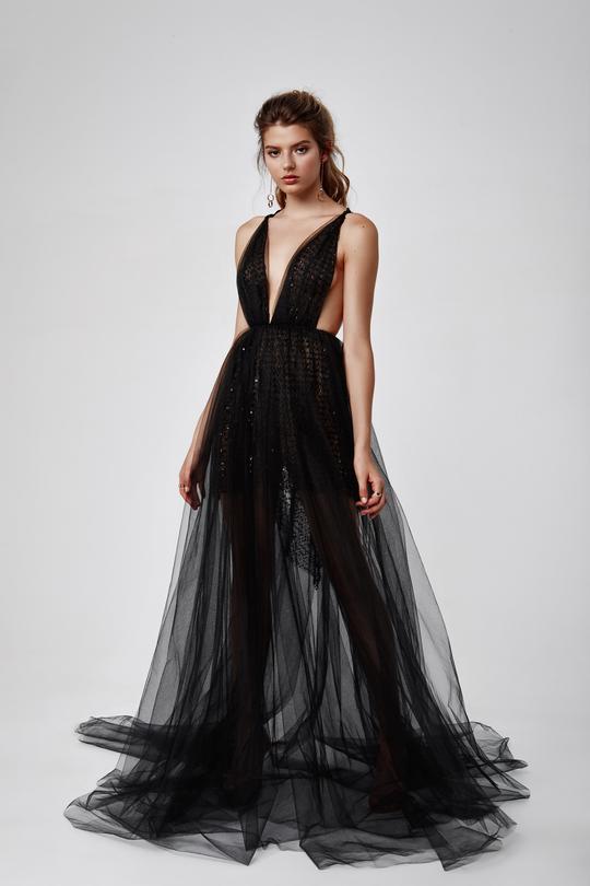 tül siyah abiye elbise modelleri