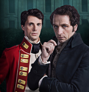 Matthew Goode on the left, with Matthew Rhys as Mr. Darcy