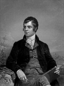 A portrait of the poet, Robert Burns, seated and looking to his right.