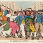 An 18th century print of a press gang in London. Several men escort another man pressed into naval service while a woman tries to pull him away and a crowd gathers around.