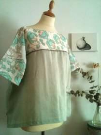 Blusa Rosas verdes 2 Green roses blouse 2 40€