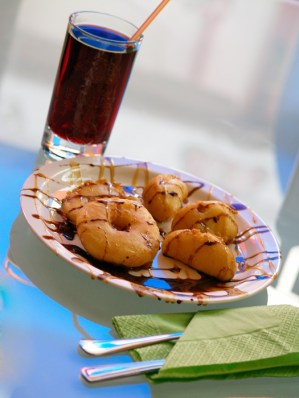 Donuts with chocolate and juice