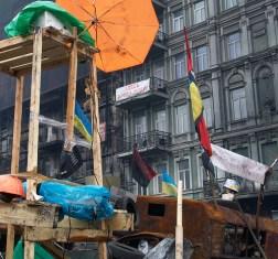 Barricades at Hrushevskogo St.