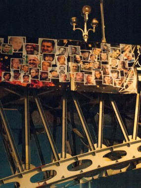 The bridge at Institutskaya street with photos of killed proteters