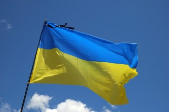 Mourning ribbon on Ukrainian flag
