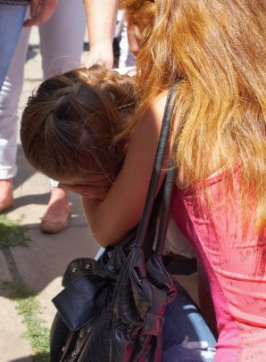 Sister of the died paratrooper crying