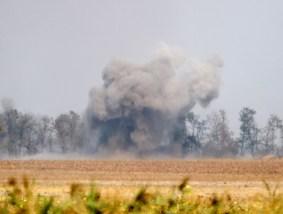 Mortar mine burst