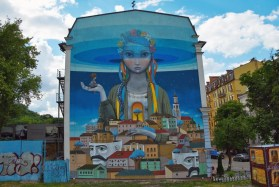 Graffiti on the wall at Andriyivskyy Descent