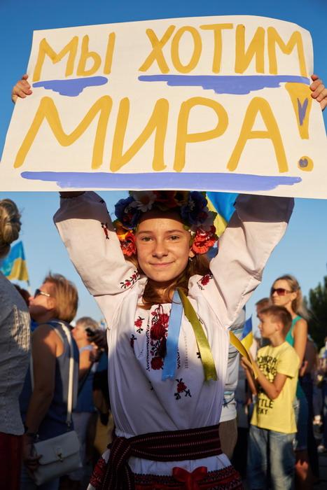 girl, Ukrainian, embroidered, shirt, poster, peace, Mariupol