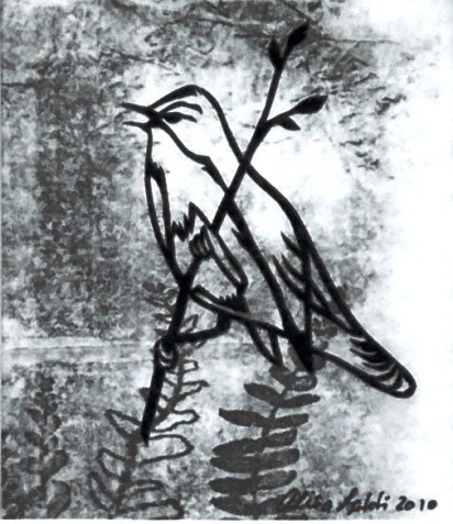 """Fern Bird, hand cut paper and print on paper, 4"""" x 3"""", Sold"""