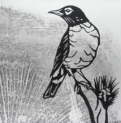 "Robin on Branch, hand cut paper and print on paper, 5"" x 5"", Sold"