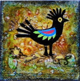 """Wycinanki Echo Bird, mixed media on board, 3"""" x 3"""", Sold - Limited cards available"""