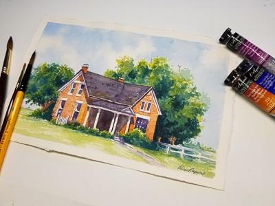 Plein air to Studio Painting : Old Brick Home