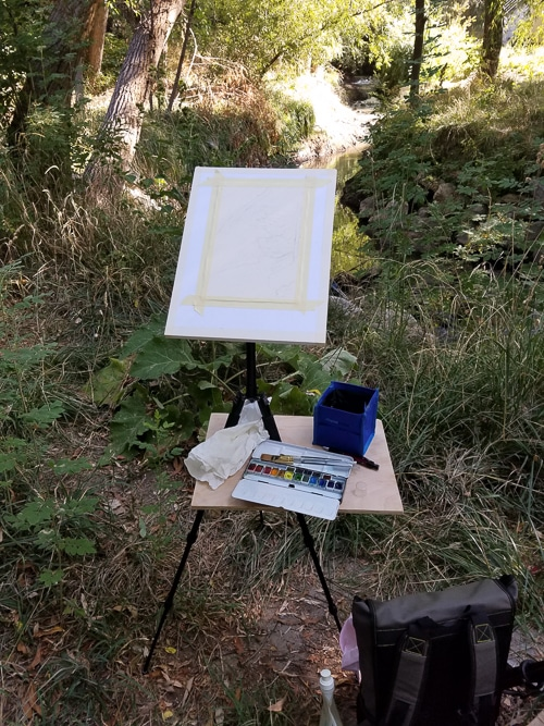 This is my setup to paint outside in plein air