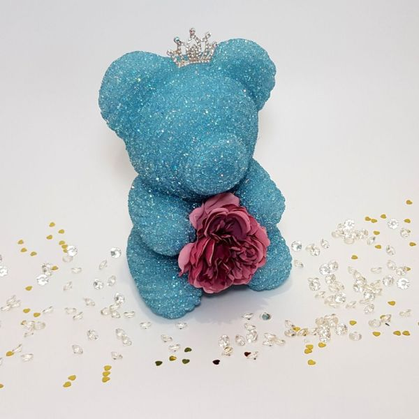 Blue crystal bear with tiara and flower