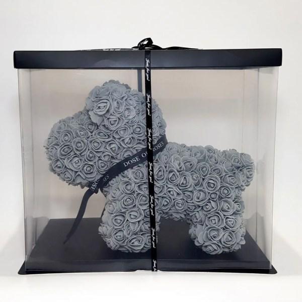 Grey long rose dog in a gift box