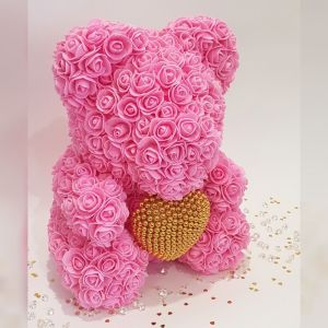 Pink rose bear with pearl heart