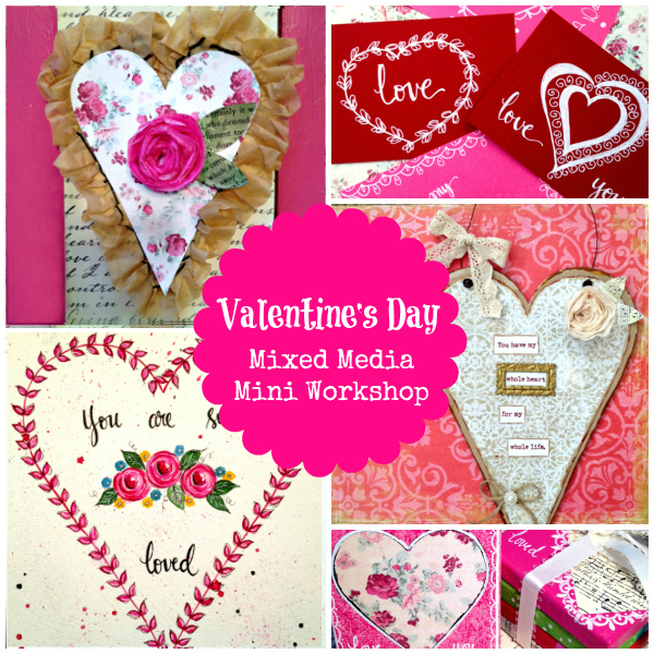 Valentine's Mixed Media Workshop | eCourse | Flourish | alishagratehouse.com