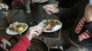 Placenta cookery, dining in the communal kitchen, Nomadic Village 2012
