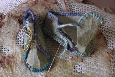 ALMOST FINISHED STITCHING DISCO BOOTIES