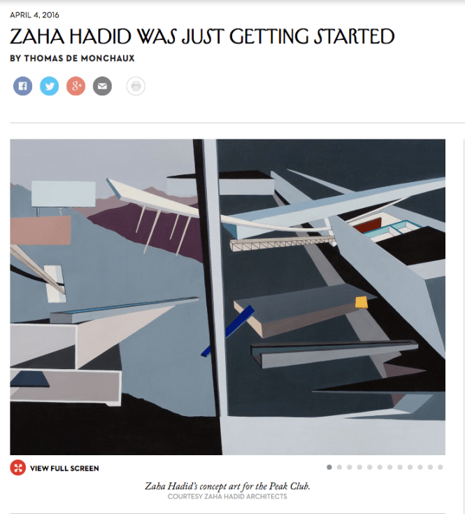 The New Yorker Magazine: Zaha Hadid Was Just Getting Started