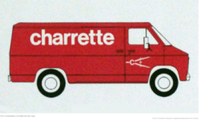 The red Charrette van that made overnight deliveries long before the existence of FedEX and all the overnight deliverers.