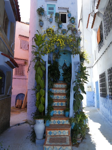 Ornate stairs in Chefchaouen Medina