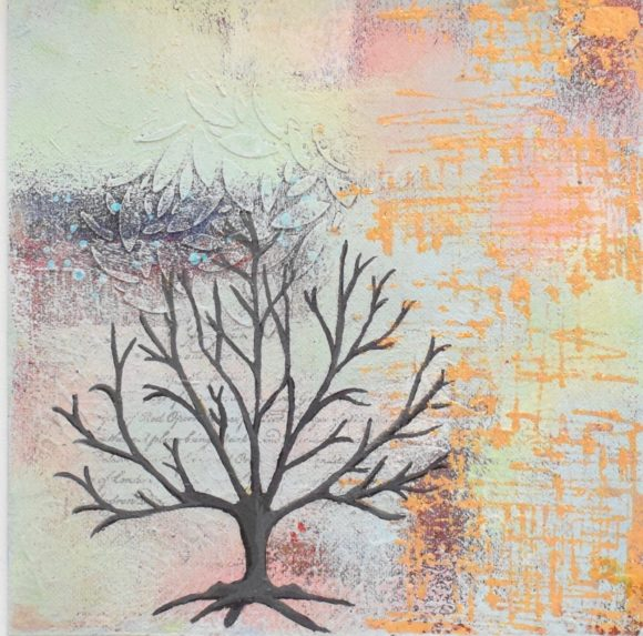 DSC 6051 580x573 - Small, neutral abstract mixed media art in white frame - winter tree (36)